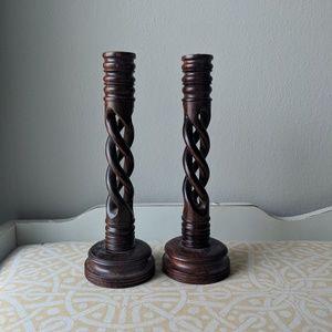 Set 2 wood spindle vtg candlestick holder boho